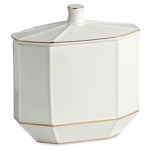 St. Honore Cotton Jar, White/Gold