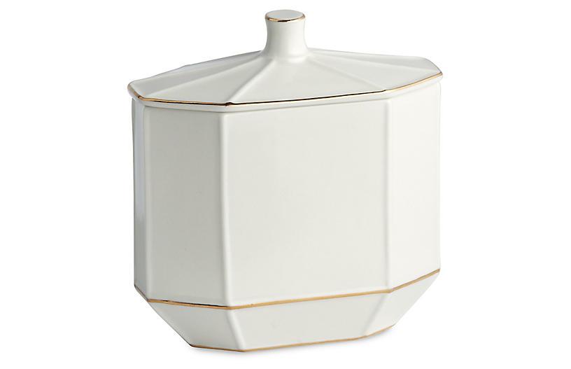 St. Honore Cotton Jar, Cream/Gold