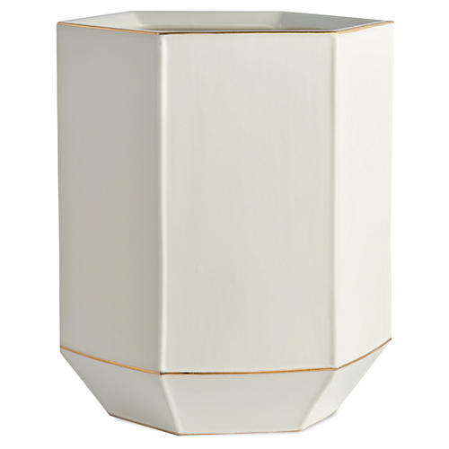 St. Honore Wastebasket, White/Gold