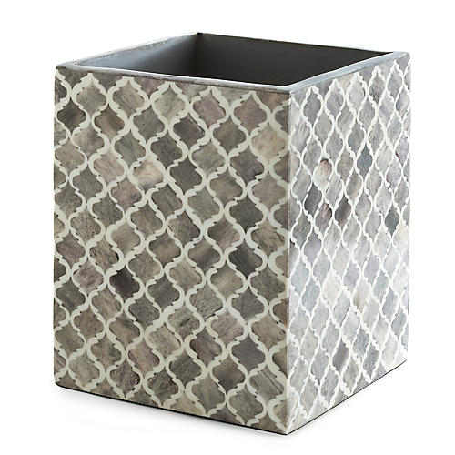 Marrakesh Wastebasket, Gray