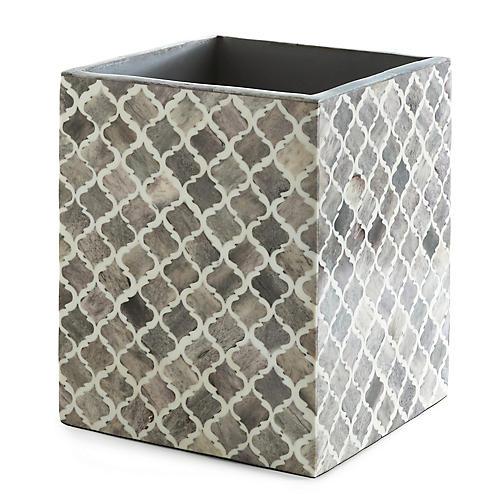 Marrakesh Wastebasket, Gray