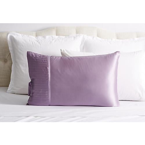 French Pleat Silk Pillow Sham, Lavender