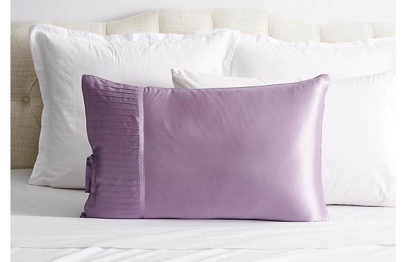 French Pleat Silk Pillow Sham, Lavender