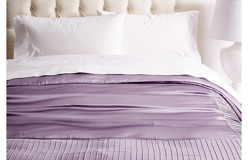 French Pleat Silk Duvet Cover, Lavender