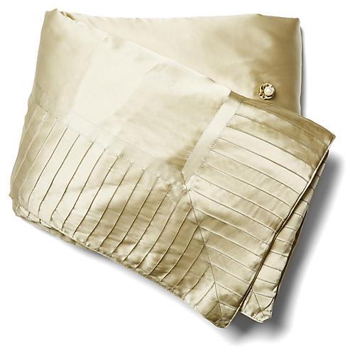 French Pleat Silk Standard Throw, Sage