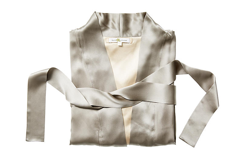 Kumi Short Robe, Slate
