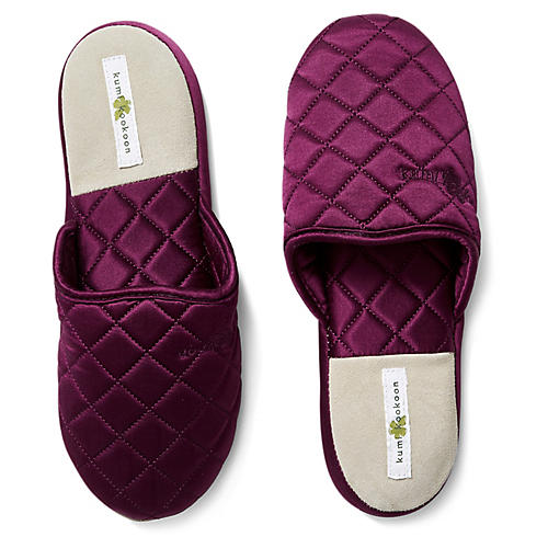 Quilted Silk Slippers, Merlot