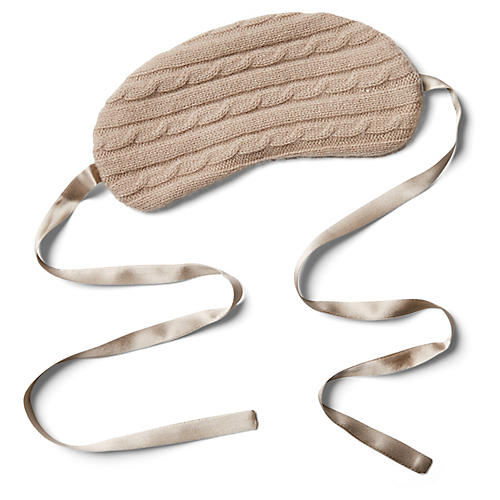 Cashmere Silk-Filled Eye Mask, Smoke