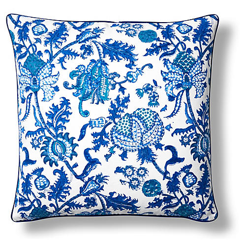 Amanda Cotton Pillow Cover, Blue