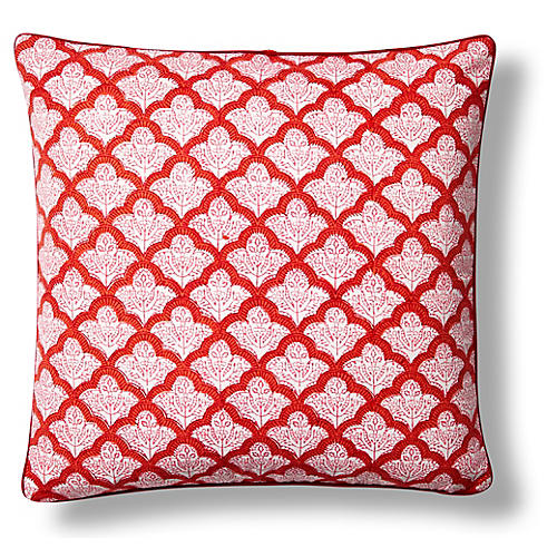 Jemina Cotton Pillow Cover, Red