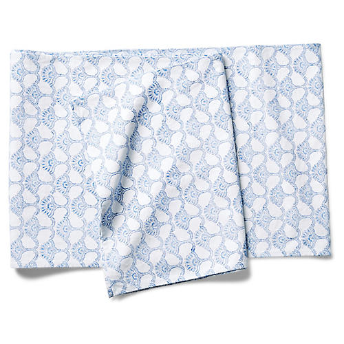 Malati Table Runner, Blue/White