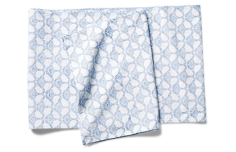 Malati Table Runner, Blue/White