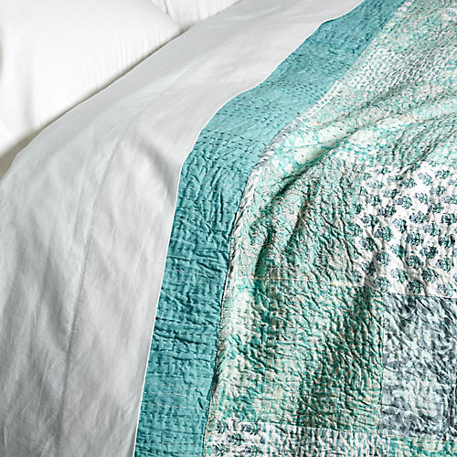 Kantha Patch Quilt, Mint