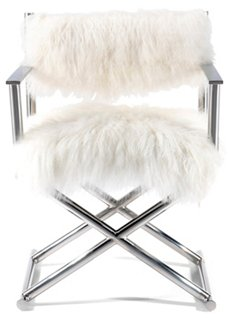 Delightful Mongolian Fur Directoru0027s Chair, White   Accent Chairs   Chairs   Living  Room   Furniture | One Kings Lane