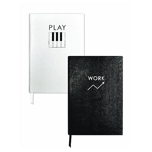 Asst. of 2 Work/Play Journals, Black/White