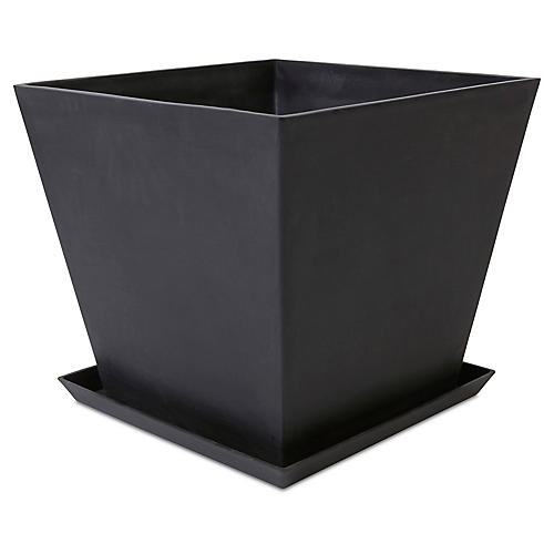 Ecopot Square Planter w/ Saucer, Black