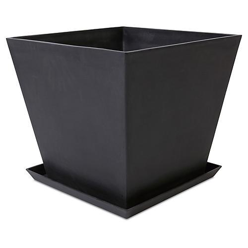 Ecopot Square Planter w/ Saucer, Black