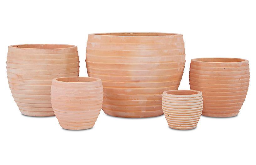 Asst. of 5 Elia Planters, Terracotta