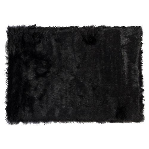 2'x3' Hudson Faux Sheepskin Rug, Black