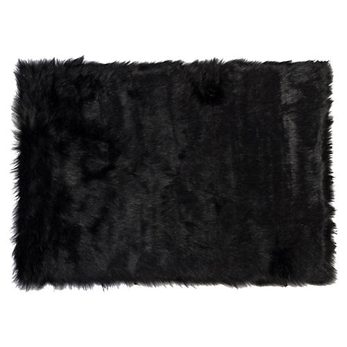 2'x3' Hudson Faux Sheepskin Rug, Black
