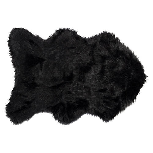 2'x3' Gordon Faux Sheepskin Rug, Black