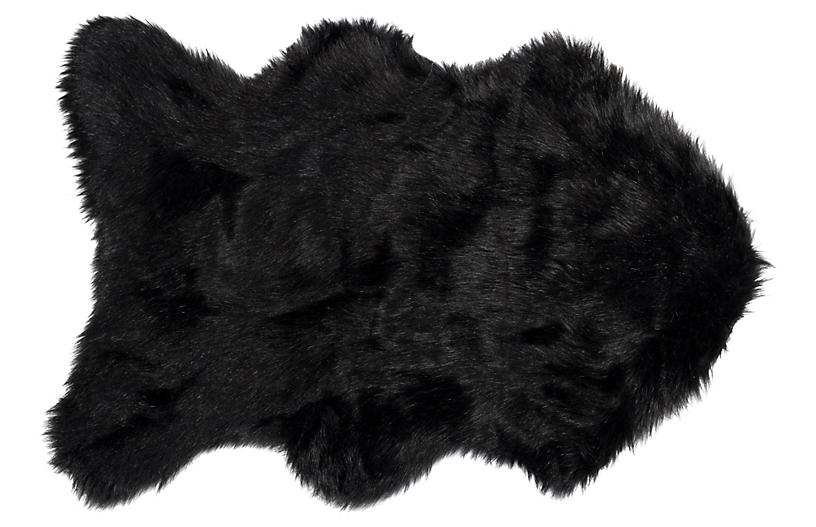 2'x3' Gordon Faux Sheepskin Rug, Black