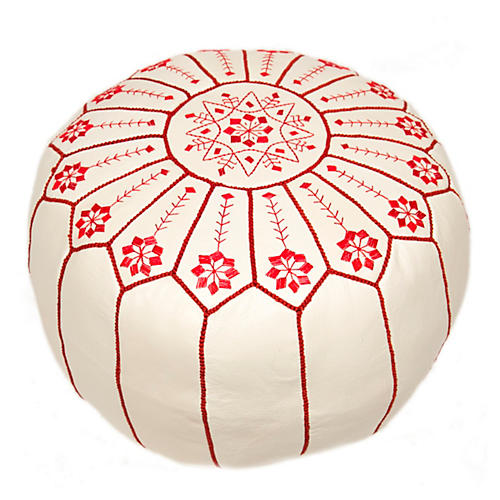 Starburst Leather Pouf, White/Red