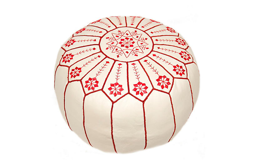 Starburst Leather Pouf - White/Red