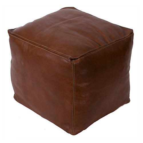 Havane Square Leather Pouf, Dark Brown