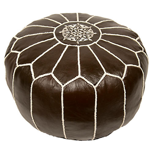 Embroidered Leather Pouf, Coffee