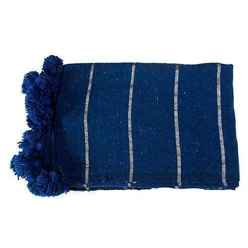 Moroccan Pom-Pom Blanket, Blue/Silver