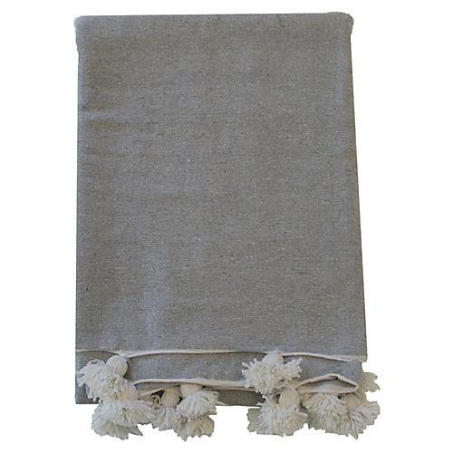 Moroccan Pom-Pom Blanket, Gray/White