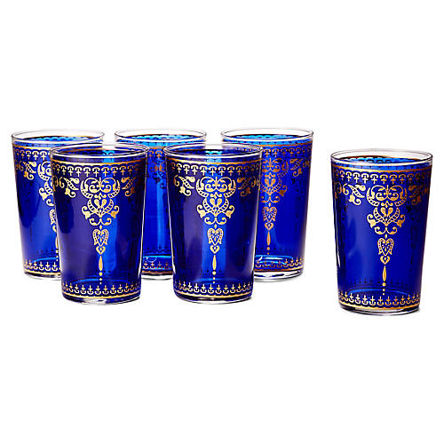 S/6 Morjana Tea Glasses, Blue/Gold