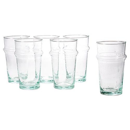 S/6 Beldi Tea Glasses, Clear