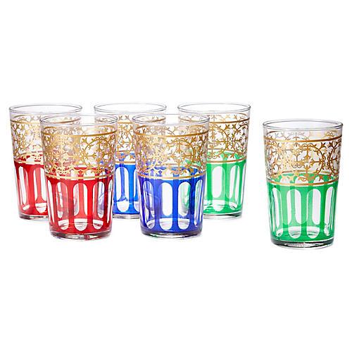 S/6 Moorish Design Tea Glasses, Gold/Multi