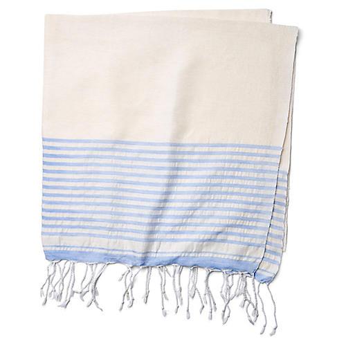 Moroccan Cotton Throw, White/Blue