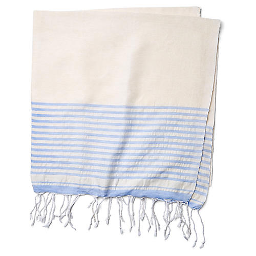 Moroccan Cotton Throw, White/Blue