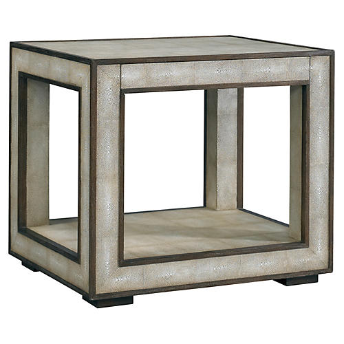 Haven Shagreen Side Table, Pearl