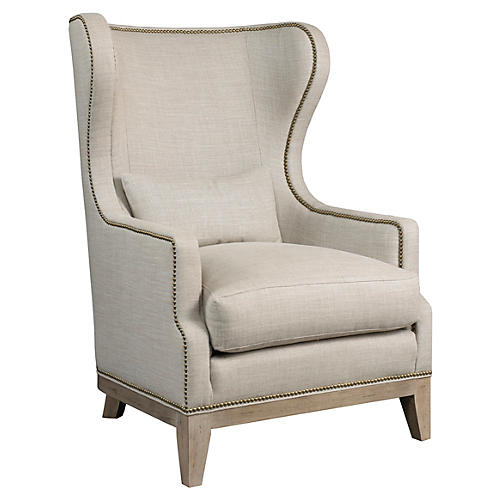 Ward Wingback Chair, Beige Linen