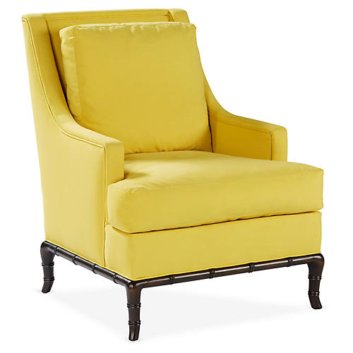 Paulette Accent Chair, Yellow Velvet