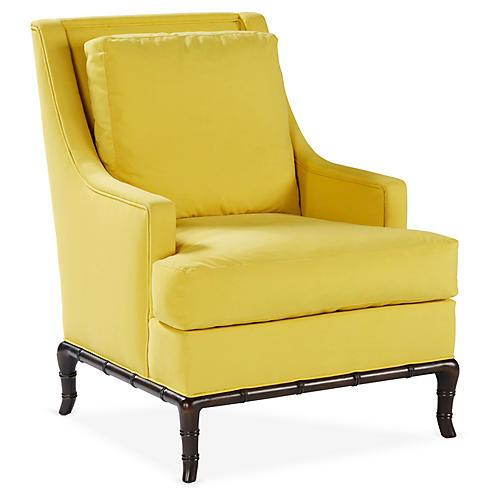 Paulette Accent Chair, Yellow Velvet