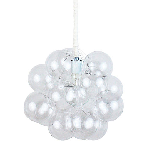 Eighteen Bubble Chandelier, White Cord