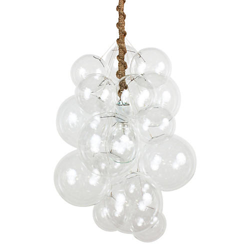 Waterfall Bubble Chandelier, Jute Cord