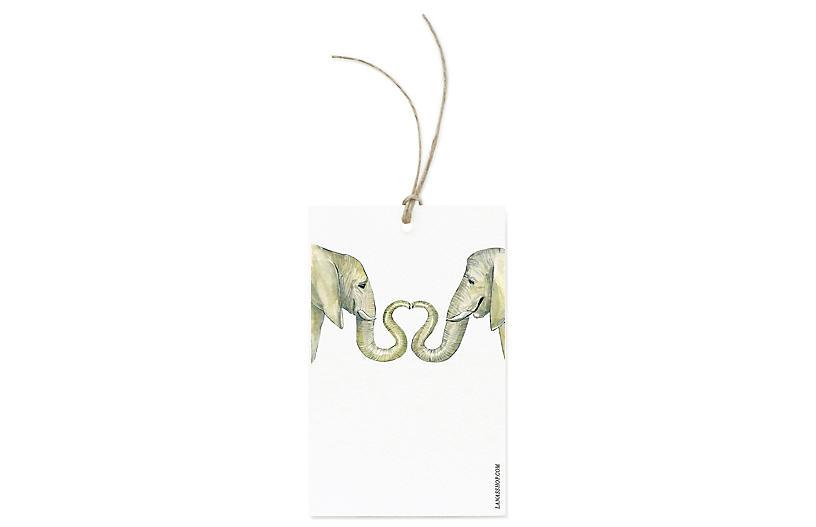 S/12 Elephant Love Gift Tags