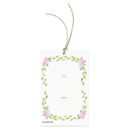 S/12 Floral Wreath Gift Tags