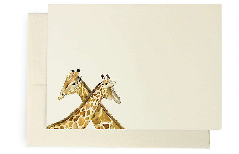 Set of 10 Giraffe Note Cards - Lana's Shop
