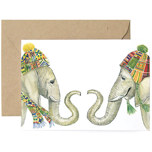 S/8 Winter Elephants Holiday Cards
