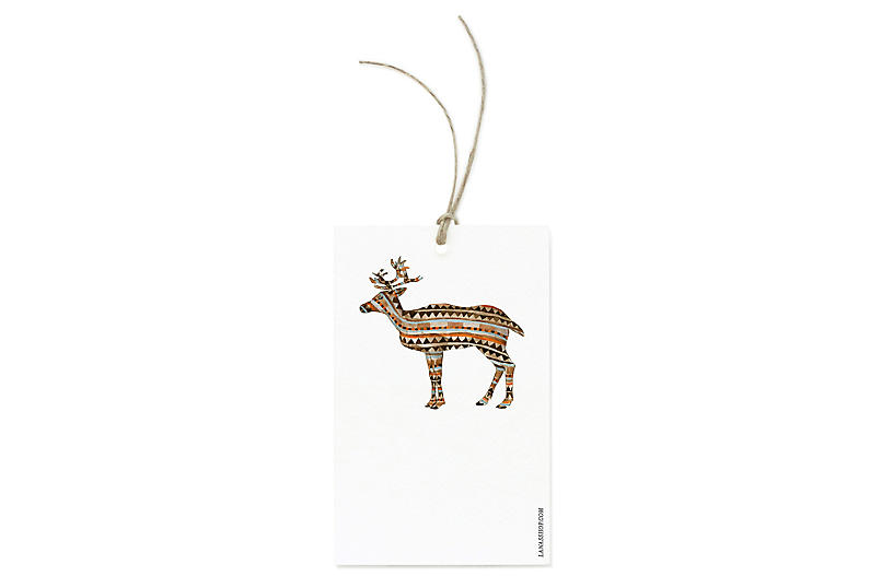 Set of 12 Reindeer Gift Tags - Lana's Shop