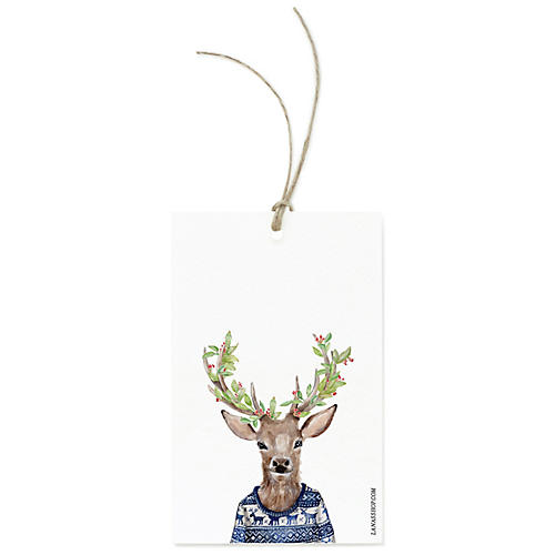 S/12 Festive Reindeer Gift Tags
