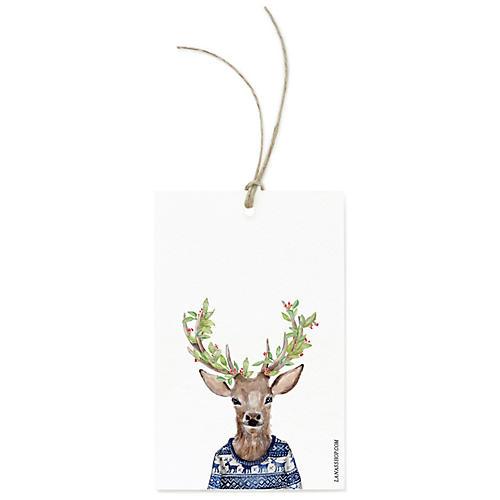 S/12 Festive Reindeer Gift Tags